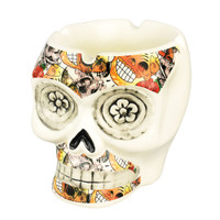 Floral Collage Life-Size Ceramic Skull Ashtray | Wholesale Distributor